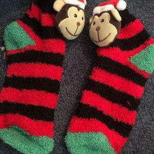 Fuzzy christmas monkey socks